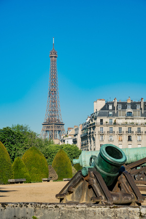 Exterior view of the Army Museum and Eiffel Tower at Paris, France