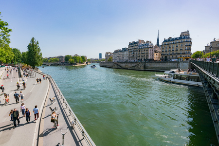France, MAY 7: Cruise shipping on the famous Seine river on MAY 7, 2018 at France