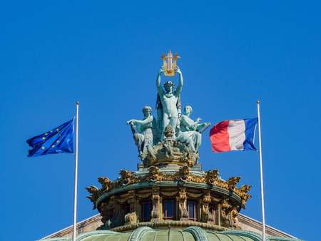 Roof statue of Palais Garnier at Paris, France