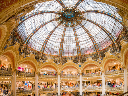 France, MAY 7: Interior view of the famous Galeries La Fayette shopping mall on MAY 7, 2018 at France