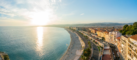 Photo for Aerial sunset view of the famous Angel's Bay, Nice at France - Royalty Free Image