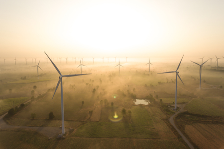 Photo pour Aerial view of wind turbine . Sustainable development, environment friendly, renewable energy concept. - image libre de droit
