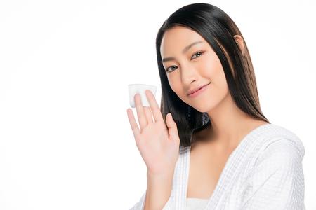 Photo pour skin care woman removing face makeup with cotton swab pad - image libre de droit