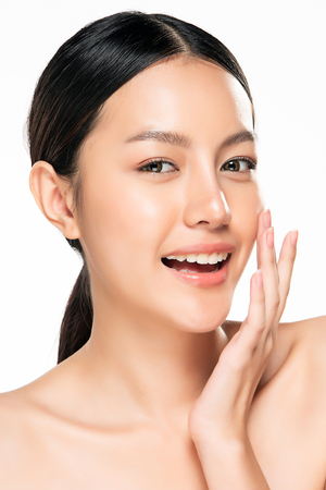 Photo for Beautiful Young asian Woman with Clean Fresh Skin look. Beautiful face and skin. Facial treatment. Cosmetology, beauty and spa. - Royalty Free Image