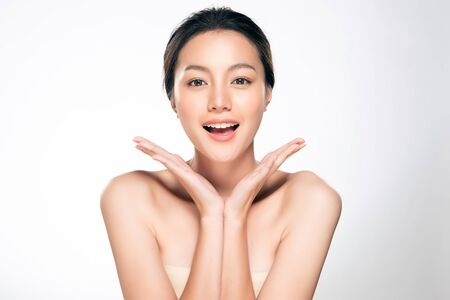 Foto de Beautiful Young Asian Woman with Clean Fresh Skin. Face care, Facial treatment, Cosmetology, beauty and spa, - Imagen libre de derechos