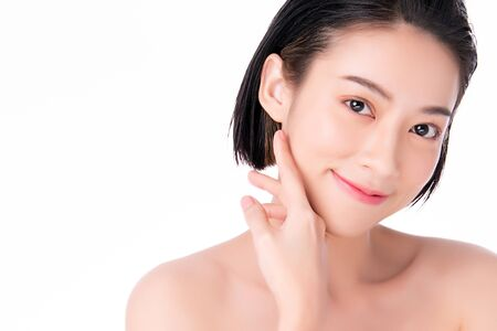 Photo pour Beautiful Young Asian Woman with Clean Fresh Skin. Face care, Facial treatment, on white background, Beauty and Cosmetics Concept - image libre de droit