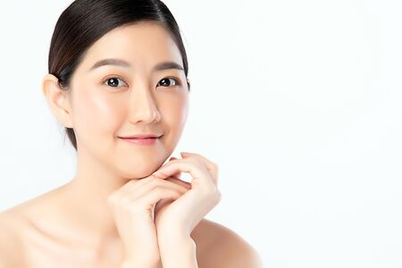 Foto de Beautiful Young Asian Woman with Clean Fresh Skin. Face care, Facial treatment, Cosmetology, beauty and healthy skin and cosmetic concept .woman beauty skin isolated on white background. - Imagen libre de derechos