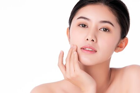 Photo pour Beautiful Young Asian Woman with Clean Fresh Skin. Face care, Facial treatment, Cosmetology, beauty and healthy skin and cosmetic concept .woman beauty skin isolated on white background. - image libre de droit