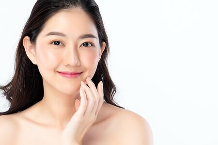 Foto de Beautiful Young Asian Woman with Clean Fresh Skin. Face care, Facial treatment, Cosmetology, beauty and healthy skin and cosmetic concept, woman beauty skin isolated on white background. - Imagen libre de derechos
