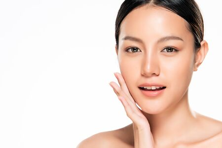 Photo for Beautiful Young Asian Woman with Clean Fresh Skin. Face care, Facial treatment, Cosmetology, beauty and healthy skin and cosmetic concept, woman beauty skin isolated on white background. - Royalty Free Image
