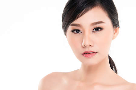Photo for Beautiful Young asian Woman with Clean Fresh Skin, on white background, Face care, Facial treatment, Cosmetology, beauty and spa, Asian women portrait - Royalty Free Image
