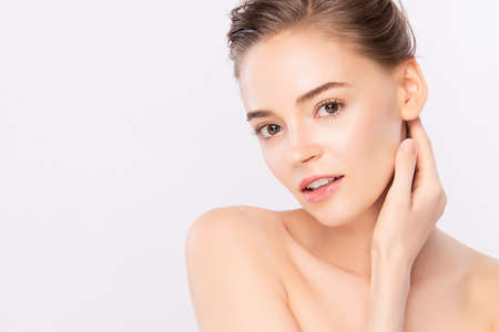 Photo pour Beautiful Young Woman with Clean Fresh Skin, on white background, Face care, Facial treatment. Cosmetology, beauty and spa. women portrait - image libre de droit