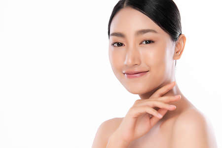 Photo for Beautiful young asian woman with clean fresh skin on white background, Face care, Facial treatment, Cosmetology, beauty and spa, Asian women portrait - Royalty Free Image