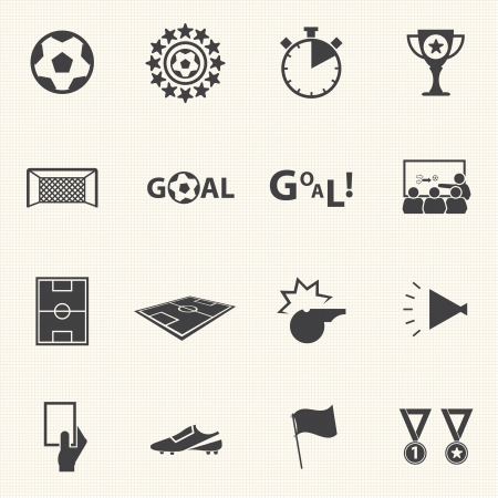 Ilustración de Soccer icons set with texture background  Vector - Imagen libre de derechos
