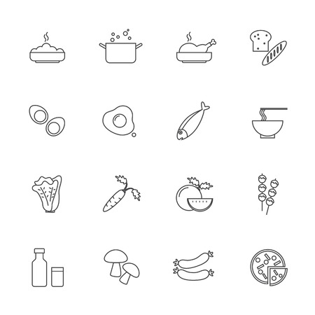 Food and ingredients icons set, Line icon