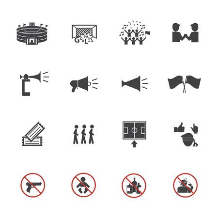 Ilustración de Soccer icons set, Fan club - Imagen libre de derechos