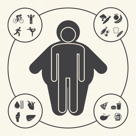 Ilustración de Obesity related diseases and prevention icons - Imagen libre de derechos