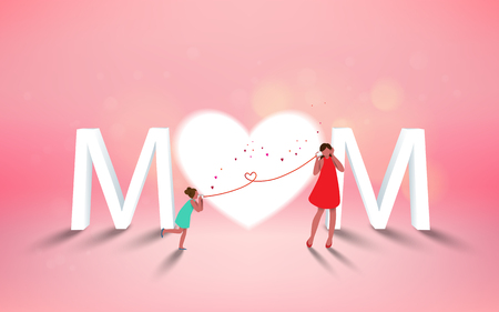 Illustration for Happy mother's day. Mom and her daughter child are playing, smiling on heart background. Family holiday and togetherness. Vector illustratoin. - Royalty Free Image