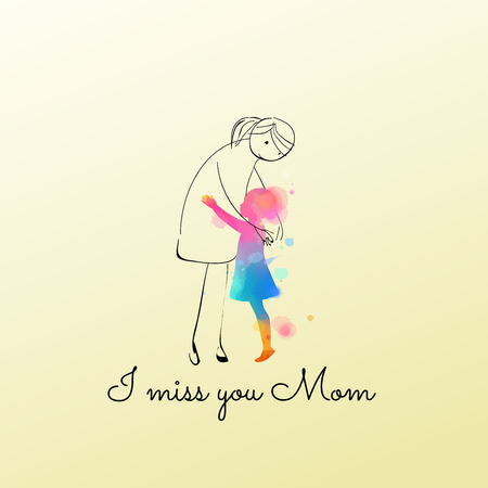 Illustration for Watercolor of girl hugging imagine mom. Girl is missing her mother - Royalty Free Image