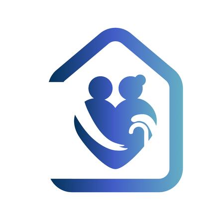 Illustration pour Elderly healthcare heart shaped logo. Nursing home sign - image libre de droit