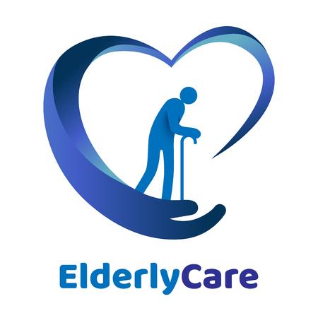 Illustration pour Elderly healthcare heart shaped logo. Nursing home sign. - image libre de droit