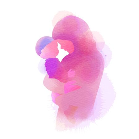 Illustration for Happy mother's day. Side view of Happy Muslim mom with her baby  silhouette plus abstract watercolor painted. Muslim mama with her child. Double exposure illustration. Digital art painting. - Royalty Free Image