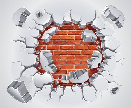 Old Plaster and Red brick wall damage  illustration