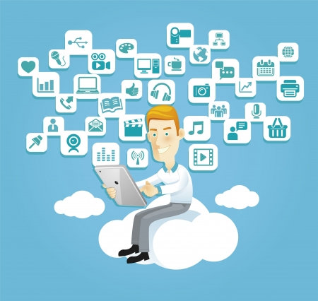 Illustration for Business man using a tablet sitting on a cloud with social media, communication icons - Royalty Free Image