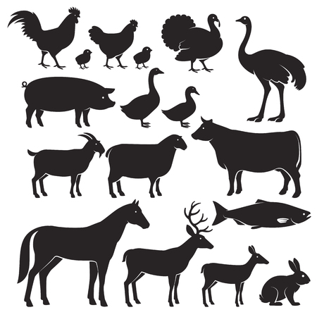 Farm animals silhouette icons. Vector illustrations