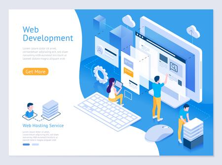 Web design and development vector isometric illustrations.