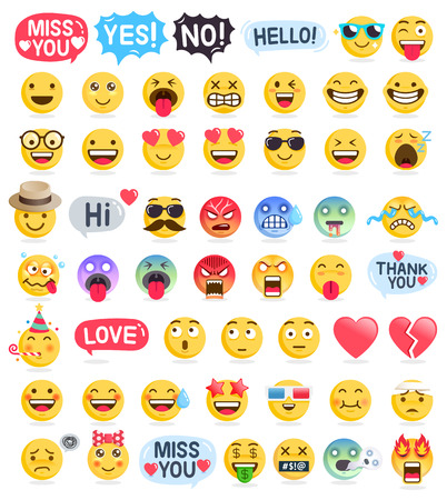 Illustration pour Emoji emoticons symbols icons set. Vector Illustrations - image libre de droit
