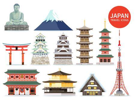 Illustration pour Japan famous landmark icons. Vector illustrations. - image libre de droit