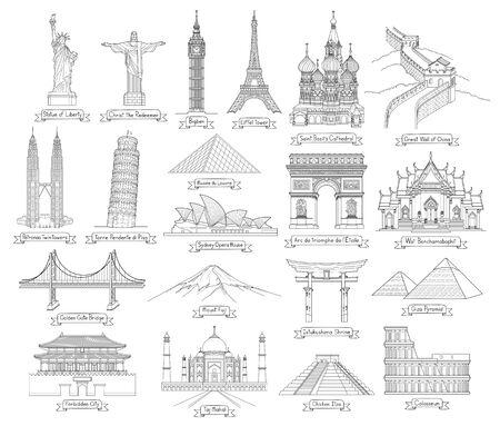 Illustration pour Travel doodle art drawing style vector illustrations. Famous landmarks in the world. - image libre de droit