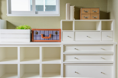 shelf and drawer in white
