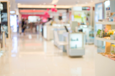 Abstract blurred image of cosmetics department in the mall