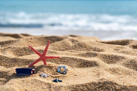 Closeup of starfish on tropical beach, Summer vacation concept