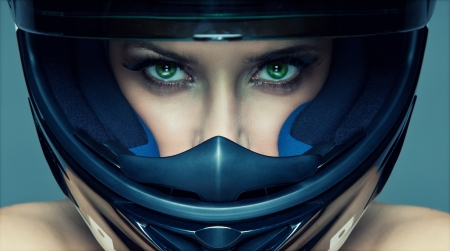 Photo for Sexy woman in helmet on blue background - Royalty Free Image