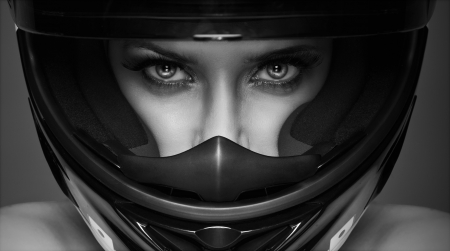 black and white  sexy woman in helmet on the background