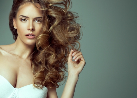 Fashion of blonde beauty with natural make-up