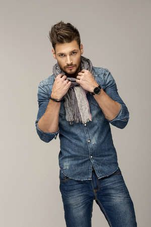 Photo for Handsome man wearing jeans - Royalty Free Image