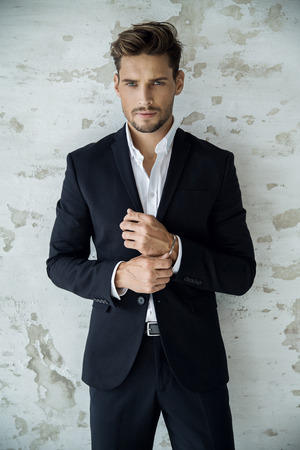Photo for Portrait of sexy man in black suit - Royalty Free Image