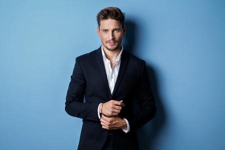 Photo pour Handsome man wear black suit - image libre de droit