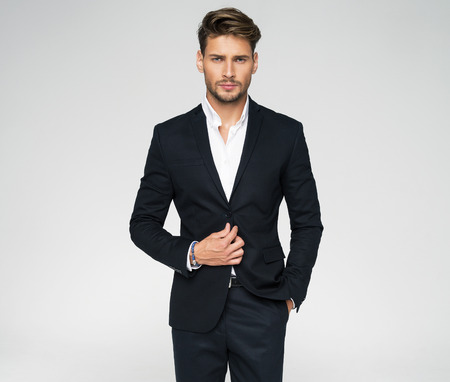Photo for Portrait of handsome man in black suit - Royalty Free Image