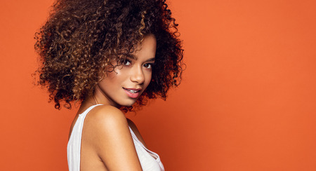 Photo for Portrait of beautiful african american female model smiling - Royalty Free Image