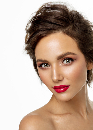 Photo pour Photo of female face with red lips isolated on white background - image libre de droit