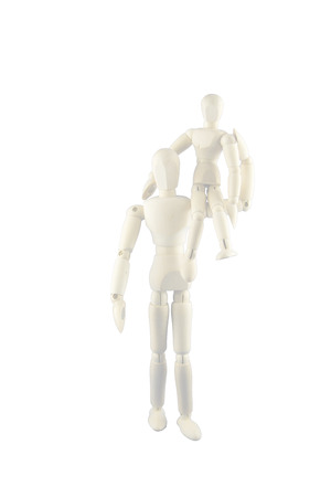 Two dummies - A big dummy is carrying a small dummy on its shoulder