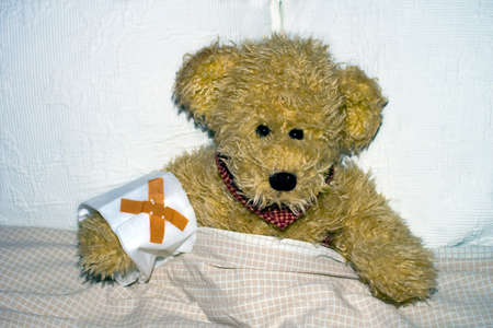 Teddy lying sick in bed.
