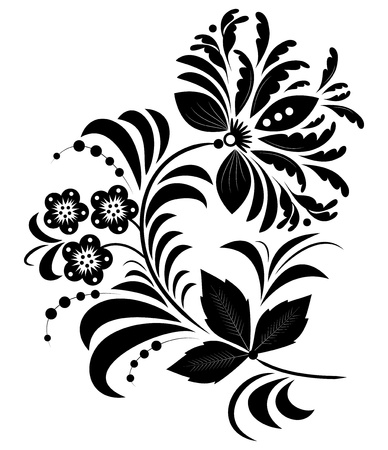 Illustration of  black abstract flower isolated on white.