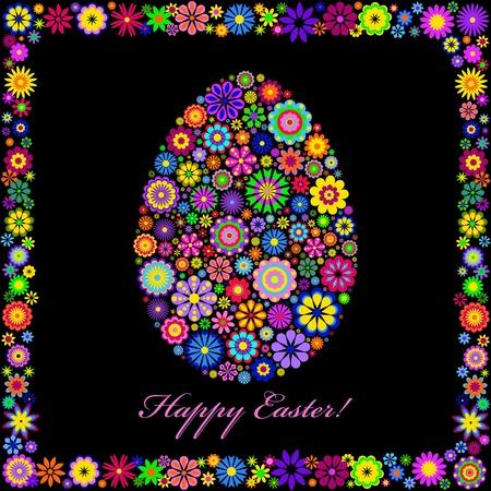 Illustration of  colorful easter egg on black background