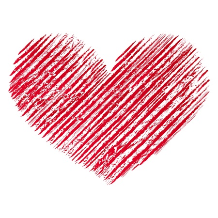 Illustration of red  abstract grunge heart